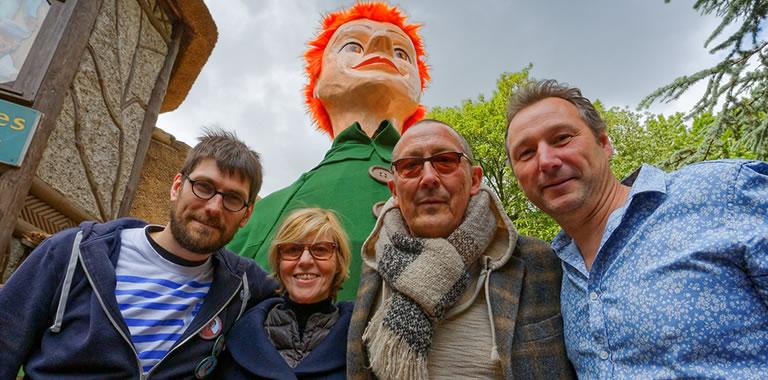 Arnaud Delbarre, Chantal Ladessou, Frantz Marin, Julien Pilette et le géant Jacques de Lille